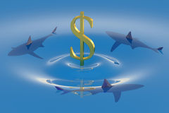 Dollar symbol sinking in the water with sharks 3d. Dollar symbol sinking in the water with sharks Stock Image