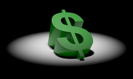 Dollar symbol in spotlight Royalty Free Stock Image