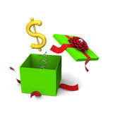 Dollar symbol springing out from a gift box. 3D of dollar symbol springing out from a green gift box Royalty Free Stock Images