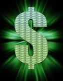 Dollar Symbol, tax season. Dollar Symbol, glowing filled with hundred dollar bills, tax season Royalty Free Stock Image