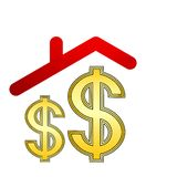 Dollar symbol under roof Stock Images