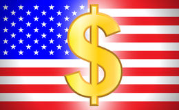 Dollar symbol with USA flag Stock Photography