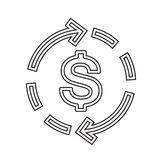 Dollar symbol vector line icon. Dollar symbol vector line icon isolated on white background. Two arrows circulate around dollar sign line icon for infographic Royalty Free Stock Photos