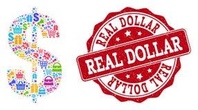 Dollar-Symbol-Zusammensetzung des Mosaiks und des verkratzten Stempels für Verkäufe vektor abbildung