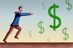 Dollar symbols. Business man chasing some falling dollar symbols. Hand drawn illustration royalty free illustration