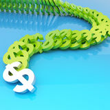 Dollar symbols falling in domino effect. Dollar green currency symbols falling in domino effect over a blue glossy surface as a financial background composition Stock Images