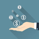 Dollar symbols in hand Royalty Free Stock Images