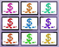 Dollar Symbols On Monitors Showing American Prosperity Stock Photos