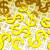 Dollar Symbols Over The Floor Showing American Prosperity Royalty Free Stock Images