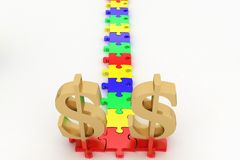 Dollar Symbols In A Puzzle Way Stock Image
