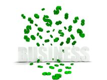 Dollar symbols raining over business Royalty Free Stock Images