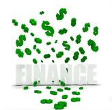 Dollar symbols raining over word finance Stock Photo