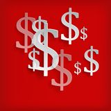 Dollar symbols on red. White dollar symbols on red background -  illustration Royalty Free Stock Photo