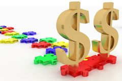 Dollar Symbols In A Un Solved Puzzle Way Royalty Free Stock Image