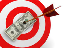 Dollar target hit. Abstract 3d illustration of dollar target hit with arrow Stock Image