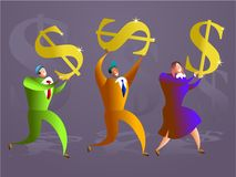 Dollar team. Colourful team of executives carrying golden dollar symbols - concept illustration Stock Photo