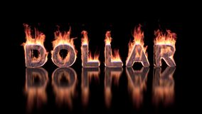 Dollar text burning in flames on the glossy surface. Financial illustration background Stock Photos