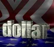 Dollar Text with texture usa flag background. 3d Dollar Text with texture usa flag background for commercial concepts Royalty Free Stock Images