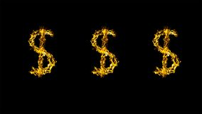 Dollar. Three dollar signs, drawn doodle in the form of flickering lines Royalty Free Stock Images