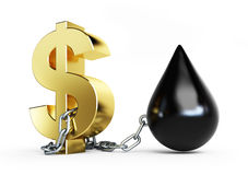 Dollar is tied to oil metal chains. On a white background Stock Photo