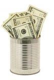dollar tin royaltyfri fotografi