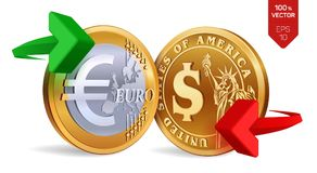 Dollar to Euro currency exchange. Dollar and Euro coins. Exchange concept. Golden coins with Euro and Dollar symbol with green and. Red arrows. 3D isometric Royalty Free Stock Image