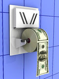 Dollar in the toilet paper Royalty Free Stock Photo