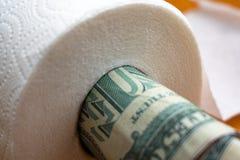 Dollar in toilet paper roll