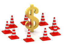 Dollar and traffic cones Stock Photo
