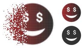 Dollar tramé pointillé dispersé Smiley Icon de chance illustration libre de droits