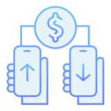 Dollar transfering flat icon. Mobile payment blue icons in trendy flat style. Money transaction non contact gradient. Style design, designed for web and app royalty free illustration