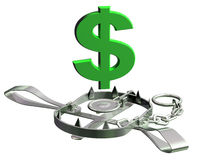 Dollar trap. Vulnerable dollar symbol precariously close to a bear trap Royalty Free Stock Photo