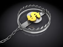 Dollar trap. 3d illustration of trap with dollar sign inside Royalty Free Stock Images