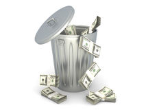 Dollar Trash Stock Photography