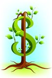 Dollar Tree. Illustration of green tree in shape of dollar showing profit Royalty Free Stock Images