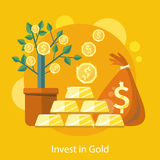 Dollar Tree in Pot Bag behind of Coins and Bullion. Investments in Gold. Dollar tree grows in pot and bag of money.  Investments idea icon in flat design on the Royalty Free Stock Photo