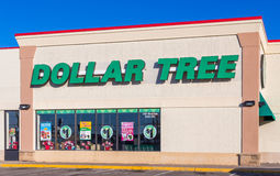 Dollar Tree Retail Store Sign and Logo. HUDSON, WI/USA - FEBRUARY 5, 2017: Dollar Tree retail store and sign. Dollar Tree, Inc. is an American chain of discount stock photo