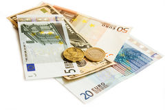 Dollar türkische Eurolira und tschechisches Geld Lizenzfreie Stockfotos
