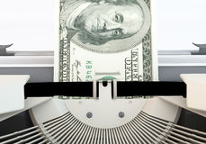 Dollar typewriter Close up. 3D graphics rendering software concepts about business and finance, typewriters making money on a white background Royalty Free Stock Images