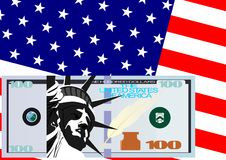 The dollar and the U.S. flag Stock Photography