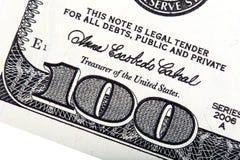 100 dollar U S pengar Staplat foto Arkivfoto