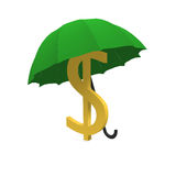 Dollar and umbrella. Dollar is covered by an umbrella Stock Photo