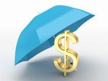 Dollar and umbrella Royalty Free Stock Photography