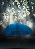 Dollar and umbrella Royalty Free Stock Photos