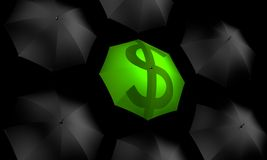 Dollar Umbrella Standing Out. Computer generated umbrella with dollar symbol green material in the center Stock Photos