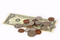 Dollar und Änderung Lizenzfreie Stockbilder