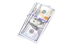 Dollar und andere Währungen auf weißem Hintergrund Stockbilder