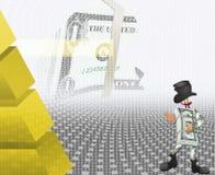Dollar und der schwarze Zylinder lizenzfreie abbildung