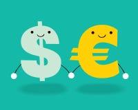 Dollar und Euro stock abbildung