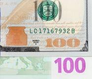Dollar und Euro als Hintergrund Stockfoto